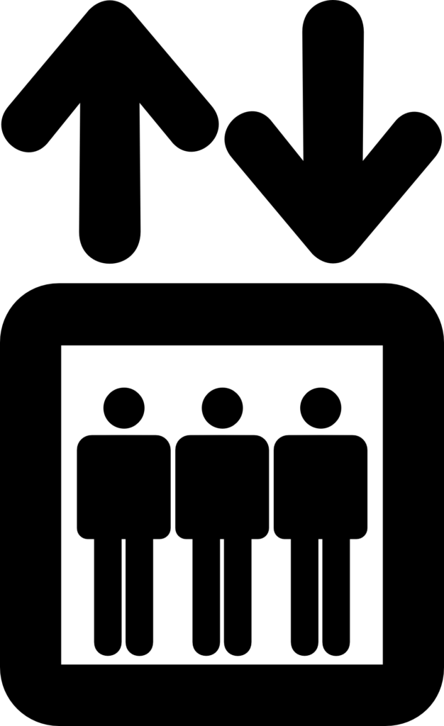 elevator, people, down
